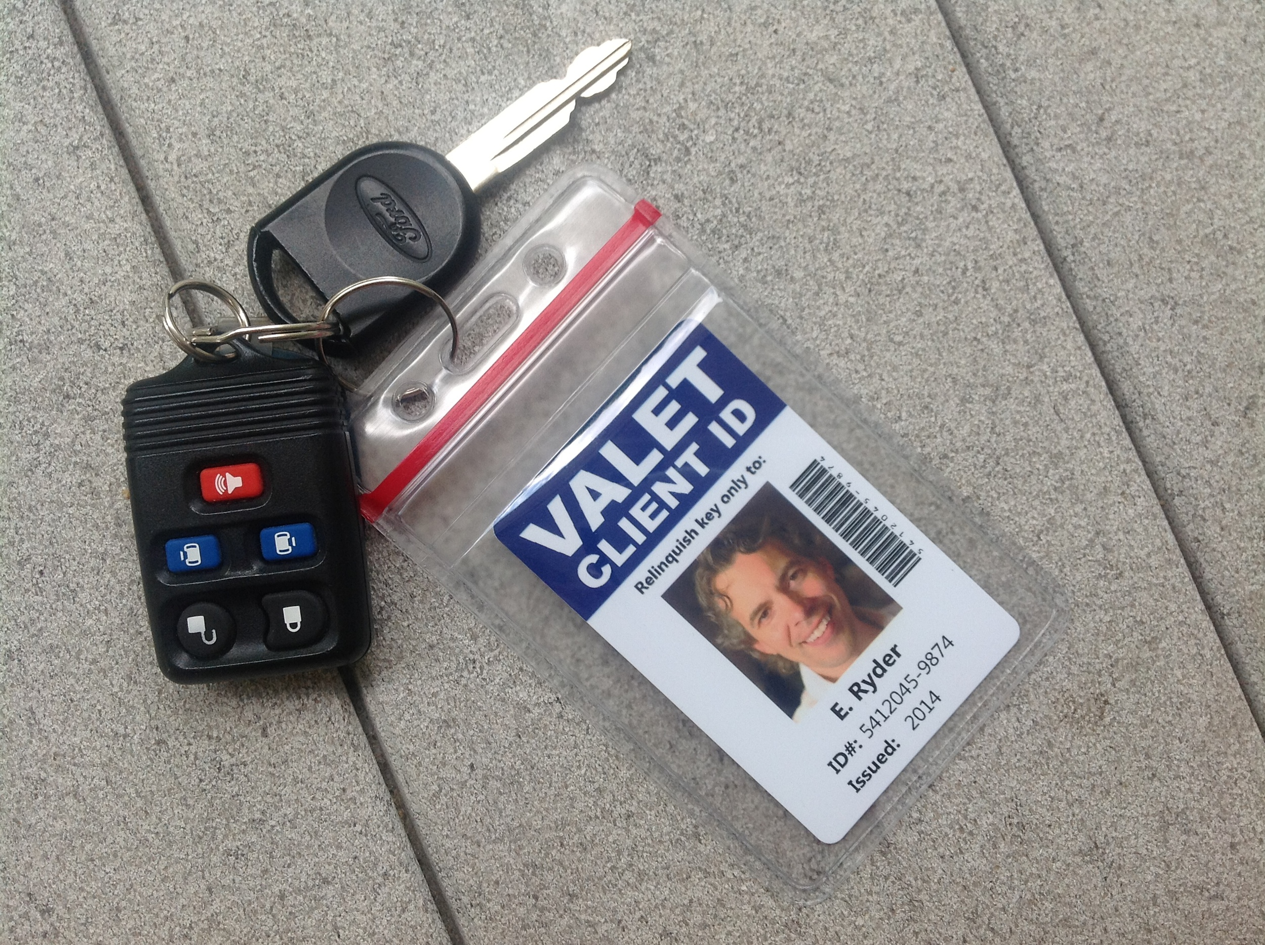 "A ""Valet Client Photo ID Card"" can save you from a lost key fiasco."