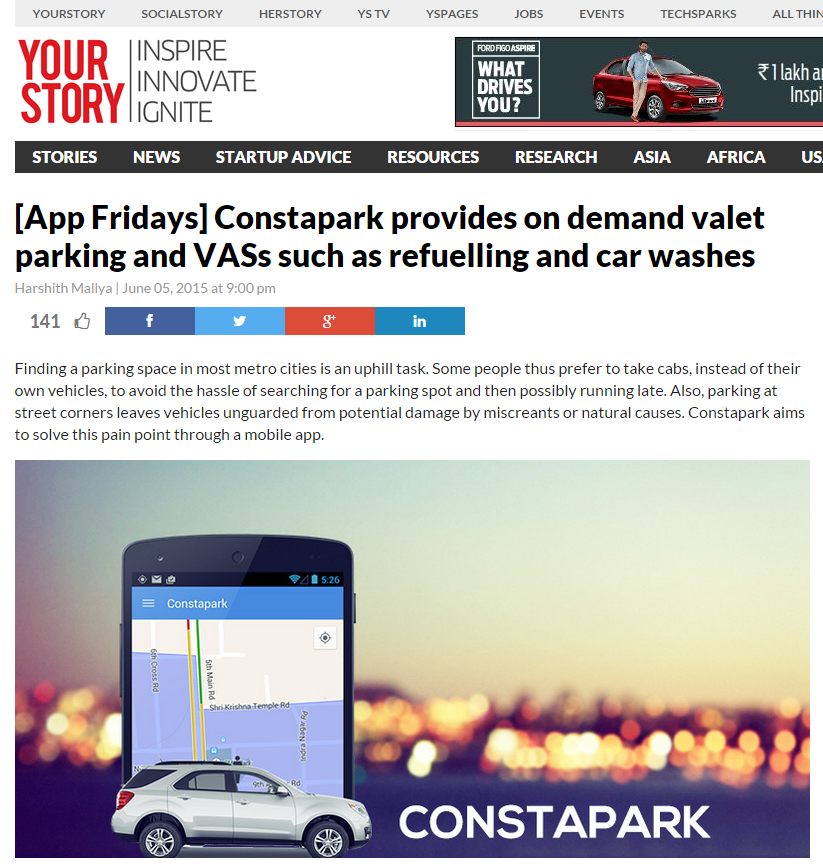 Article about on-demand valet parking's arrival in India. Click to read article.