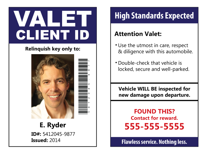 Valet client photo ID card.