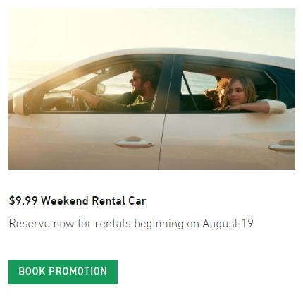 It's on! The Enterprise $9.99 weekend rental car special is back.