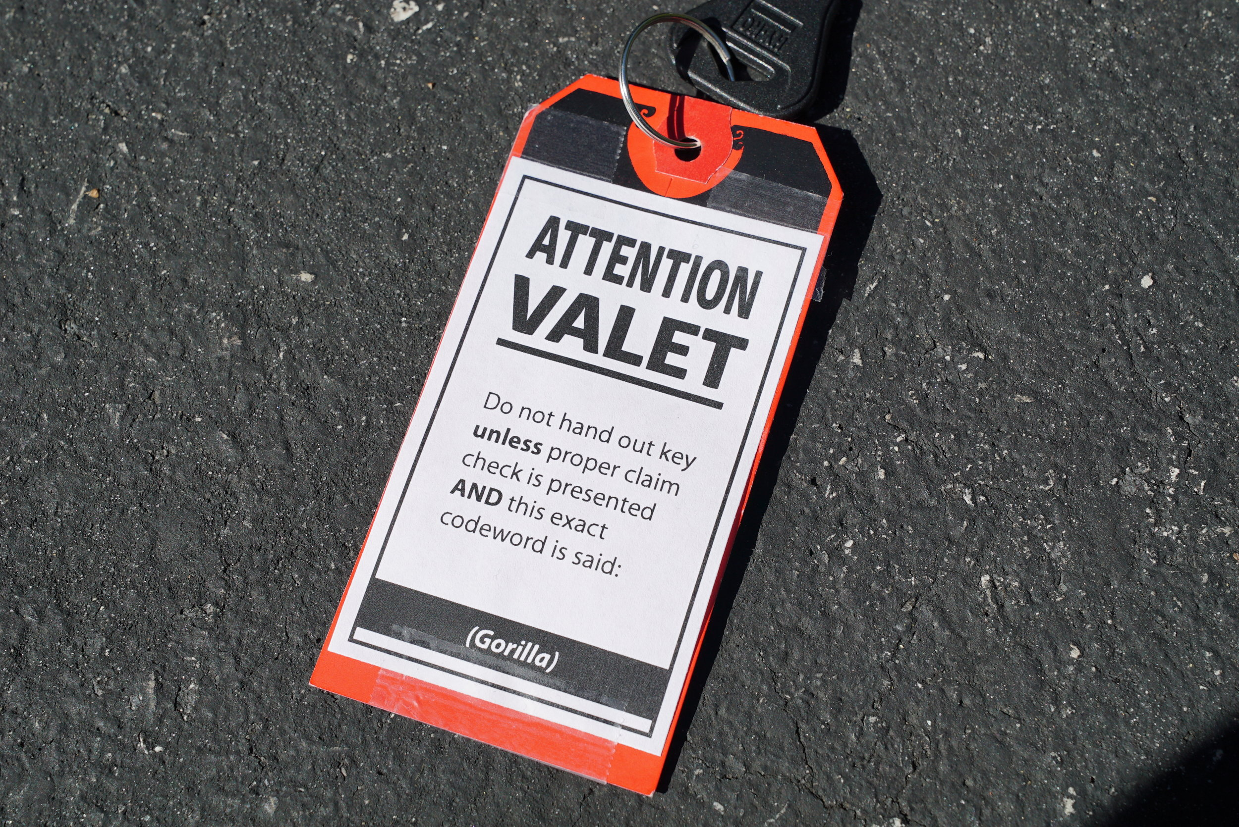 This is a codeword key tag. You should make one and use it if you expect to park your car with a valet service.