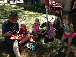 Group parenting at its best. Corey Cushing watching the kiddos.