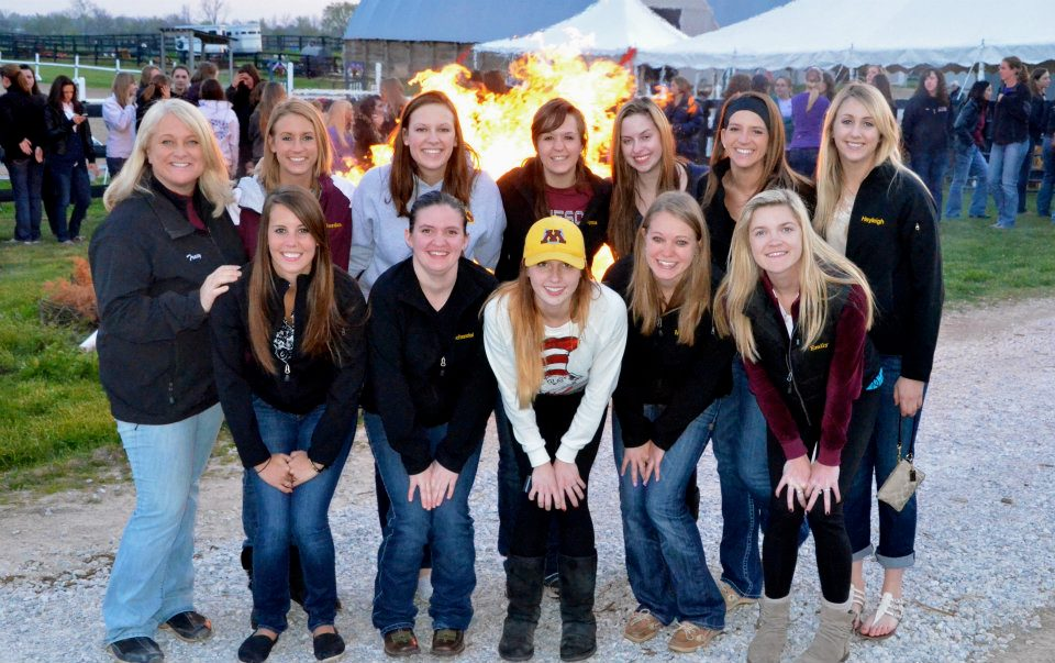 Minnesota Equestrian at a dinner/bonfire before competing at IHSA zones.