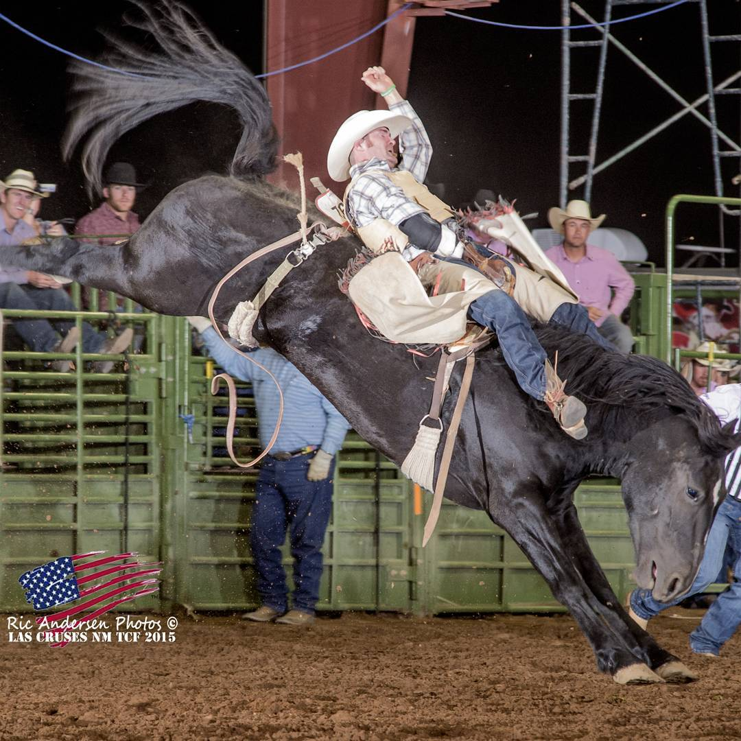 John Killian at the Ram Turquoise Circuit Finals Rodeo in Las Cruces, NM! John is riding, Honeycutt's Coconut Queen! Photo Credit: Ric Anderson.