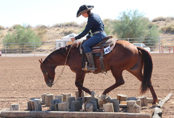 "Tabitha Smith working the ""mine field"" in versatility trail"