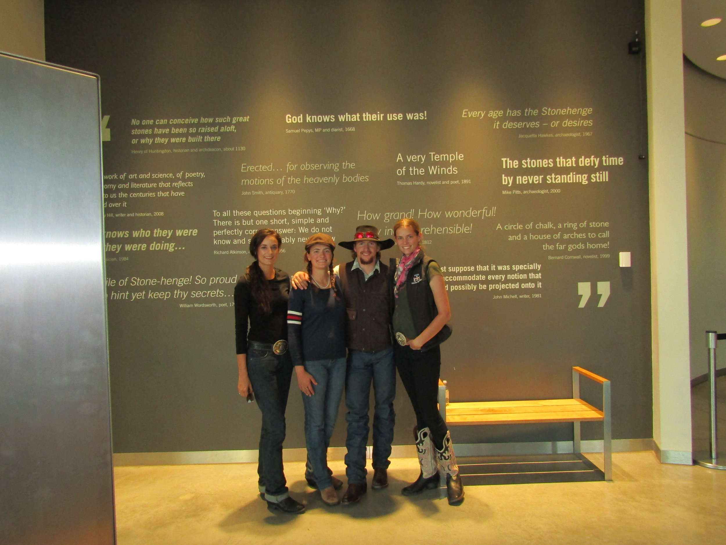 Here's one of the few photos of all four of us together, exploring in the museum at Stonehenge. Left to right is myself (wearing  Francesca's ), Randi, Warren Clayton, and Nicole.