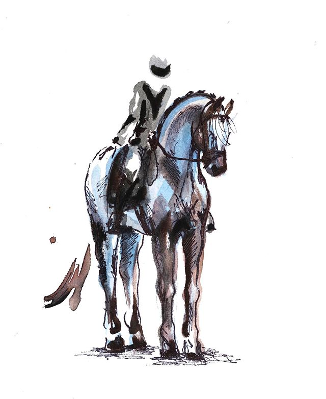 """""""Phase I"""" Watercolor 🏇🏼 @wasatchsporthorses       #eventing#eventingnation#equestrian#crosscountry#rider#horse#painting#art#sporthorse#jumper#horsesofinstahram#ottb#useventing#horseart#dressage#watercolor"""