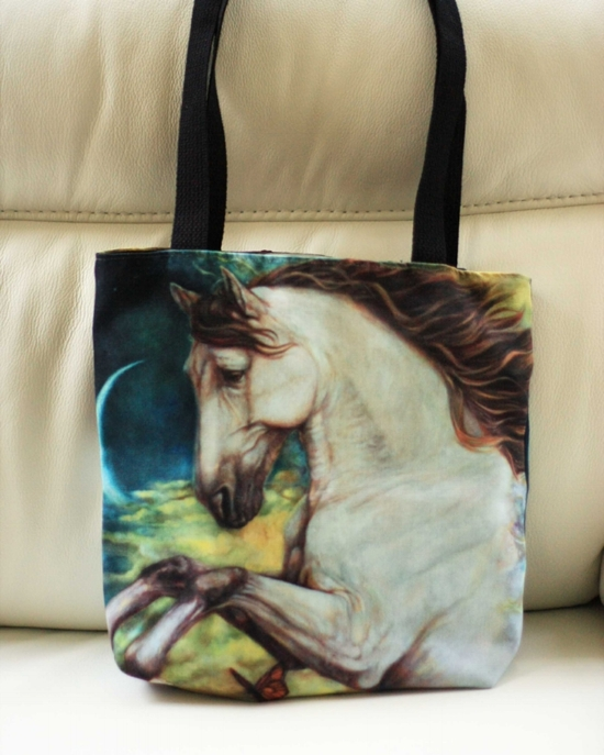 """A sample of Redbubble's tote bag with my work """"Eternity"""" Printed on both sides."""