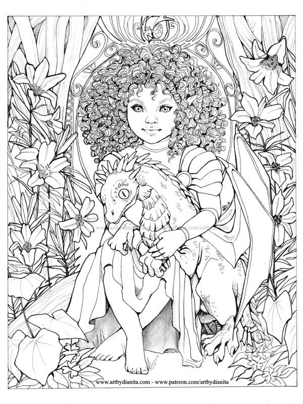 """Forever yours"" Created as a coloring page for my Patreon in February 2018."