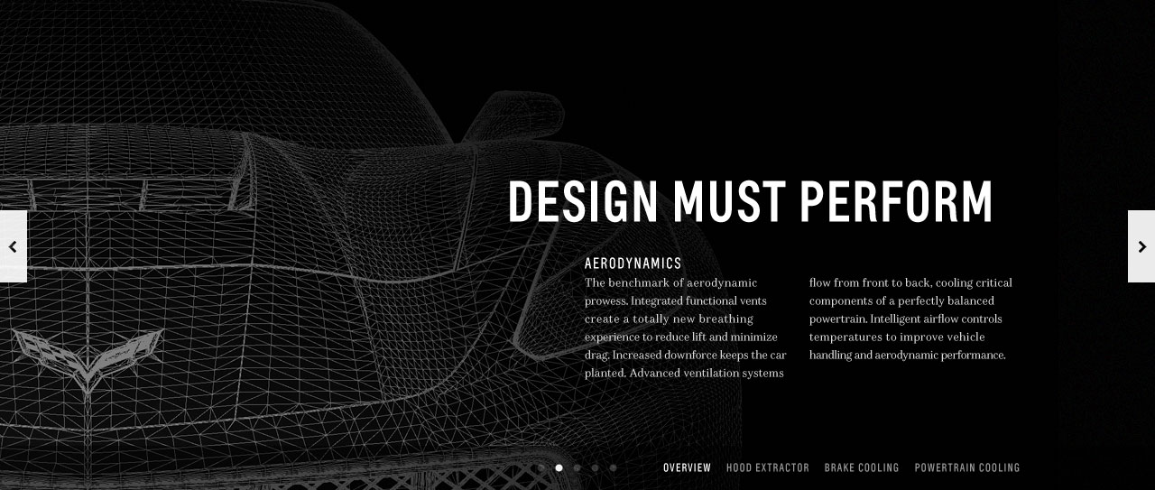 Crop of the car in a wireframe style and text about design performance.