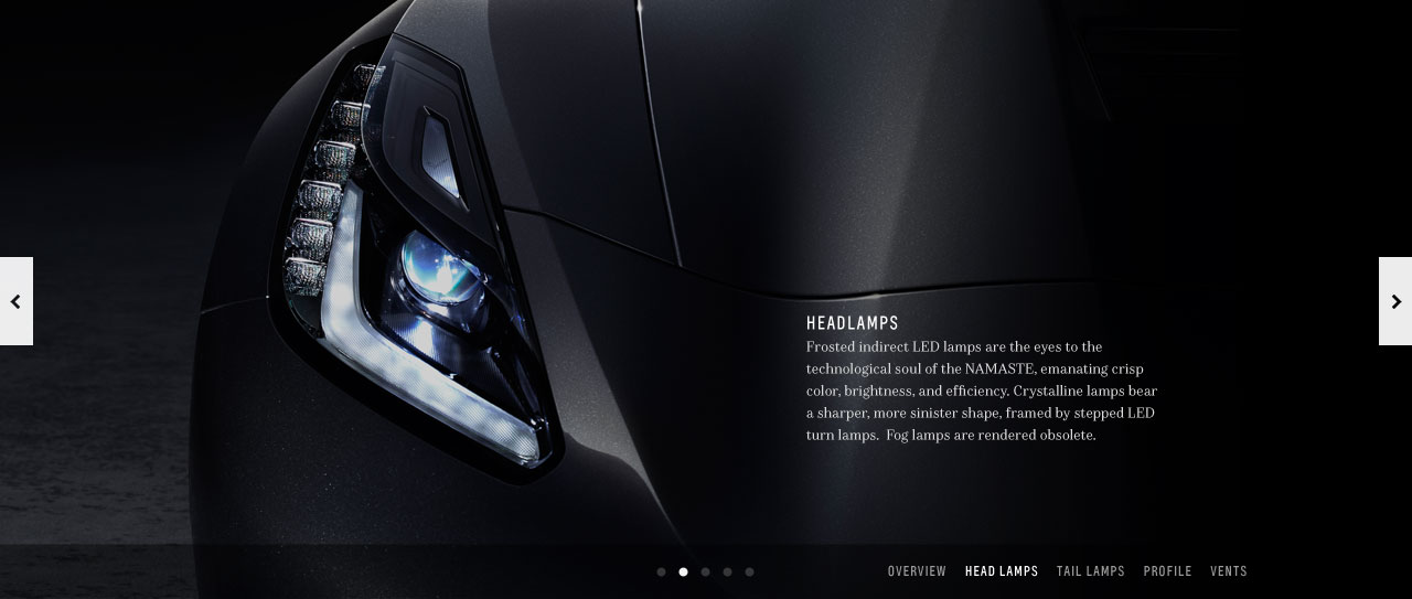 Full background image of car headlight with paragraph of text.