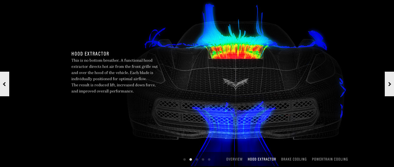 Exterior Hood Extractor wireframe image showing airflow with bright colors.