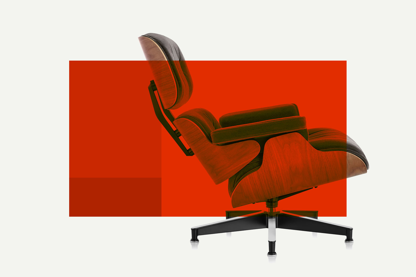 Product design color palette using shades of Red with Eames Lounge Chair.