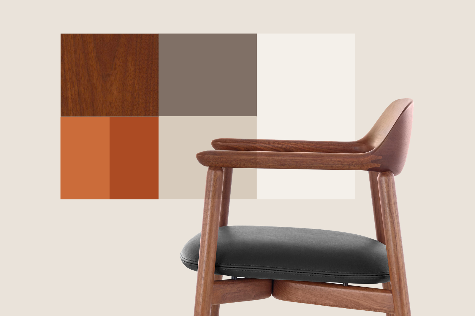 Product design color palette using Geiger brand colors  with Crosshatch Side Chair.