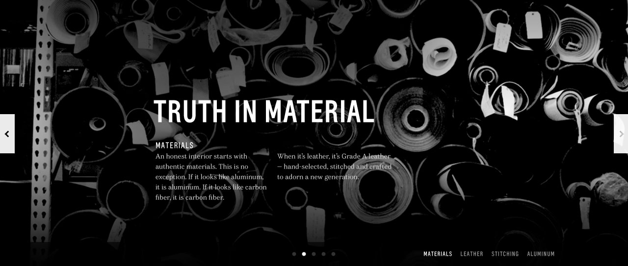 Background image of material rolls with editorial typography.