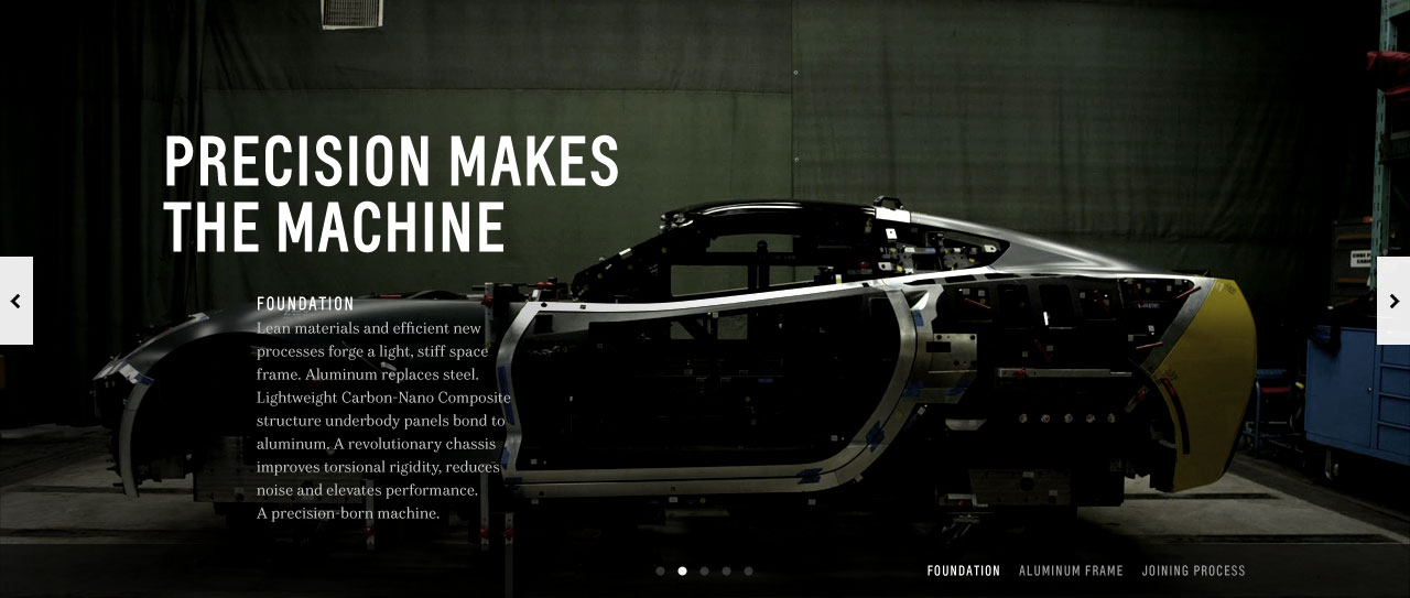 Car frame with editorial typography about precision.