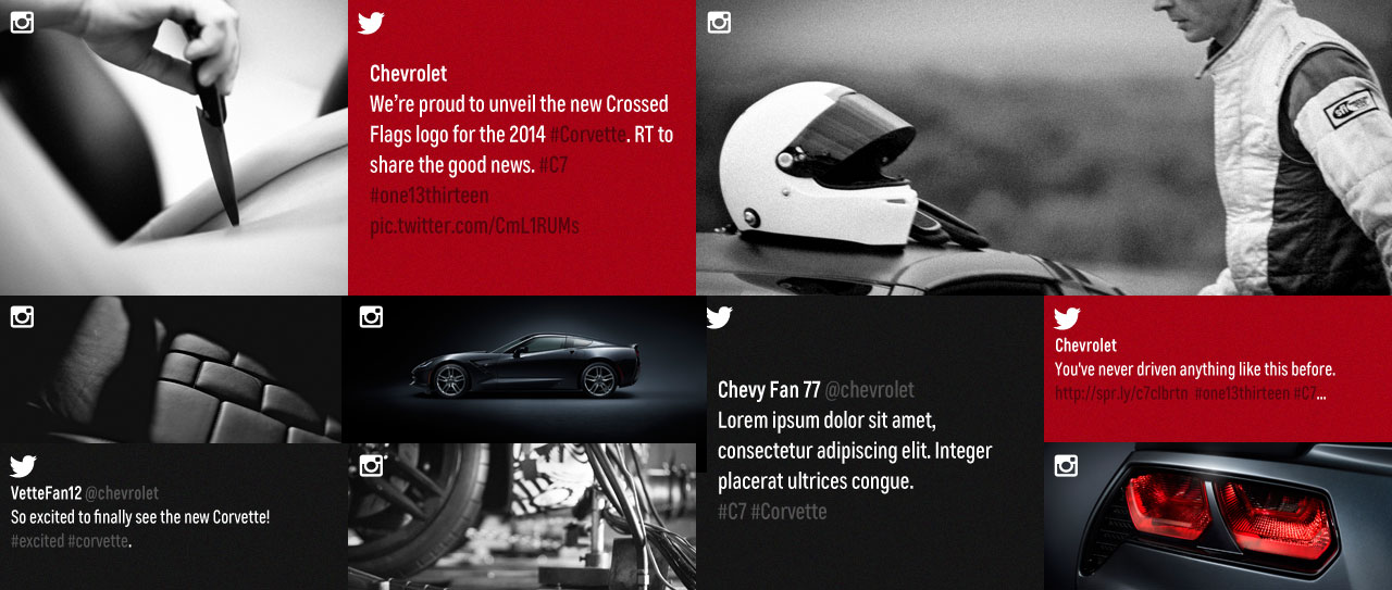 Example social design layout featuring twitter and instagram posts.