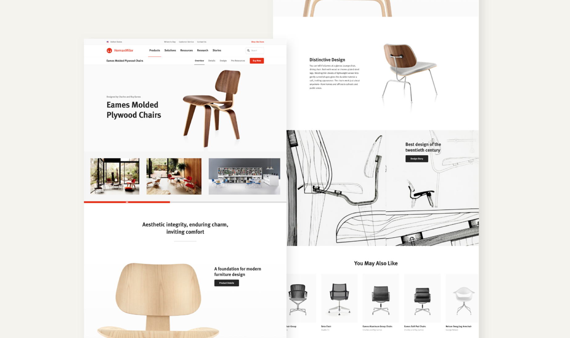 Example product page of Eames Molded Plywood Chairs.