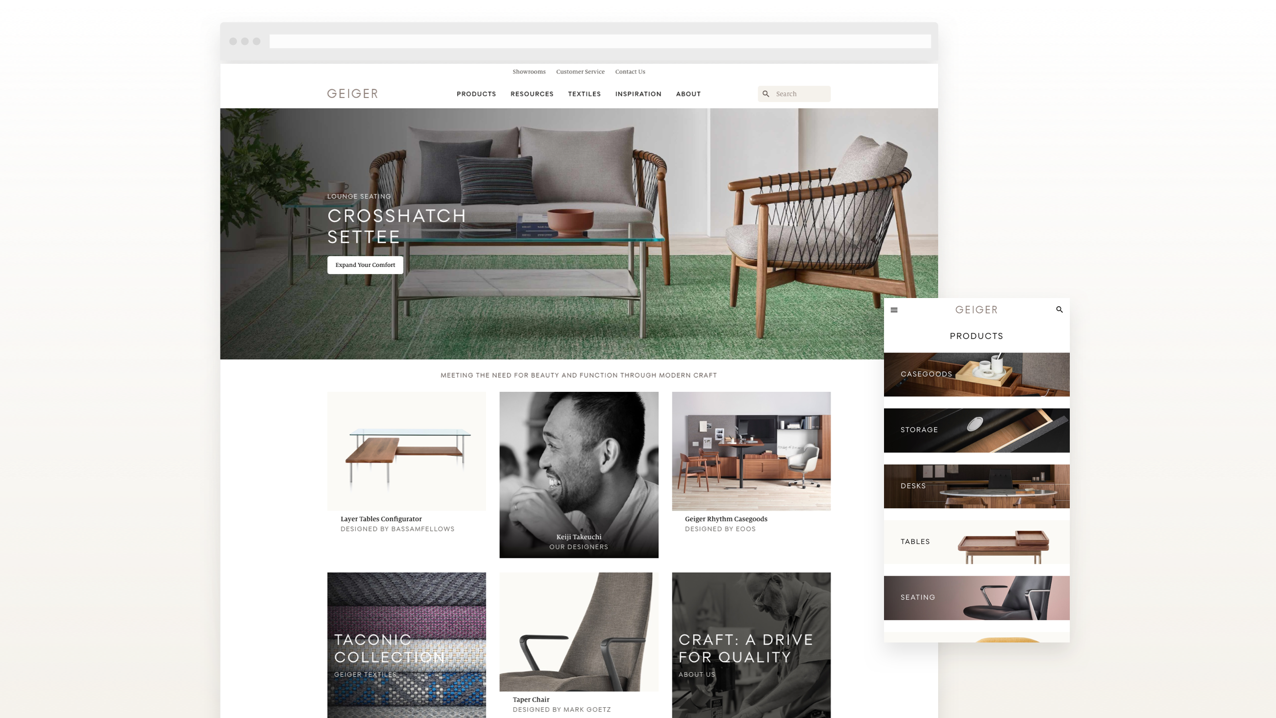 Examples homepage with Croshatch Settee masthead feature, and feature page link tile grid.