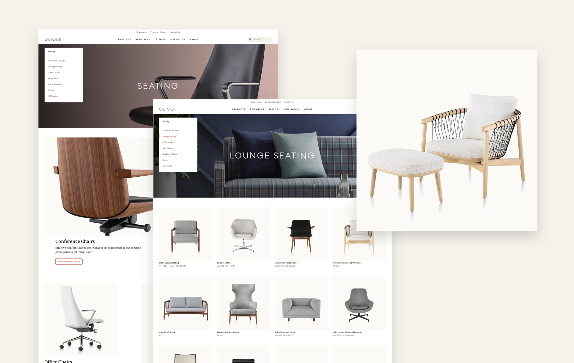 Examples Seating category page, Lounge Seating sub category page, and Crosshatch product page tile.