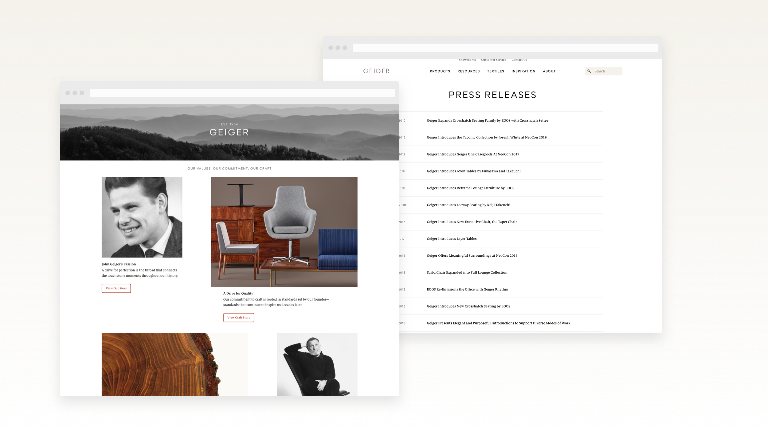 About us landing page with press page mockup.