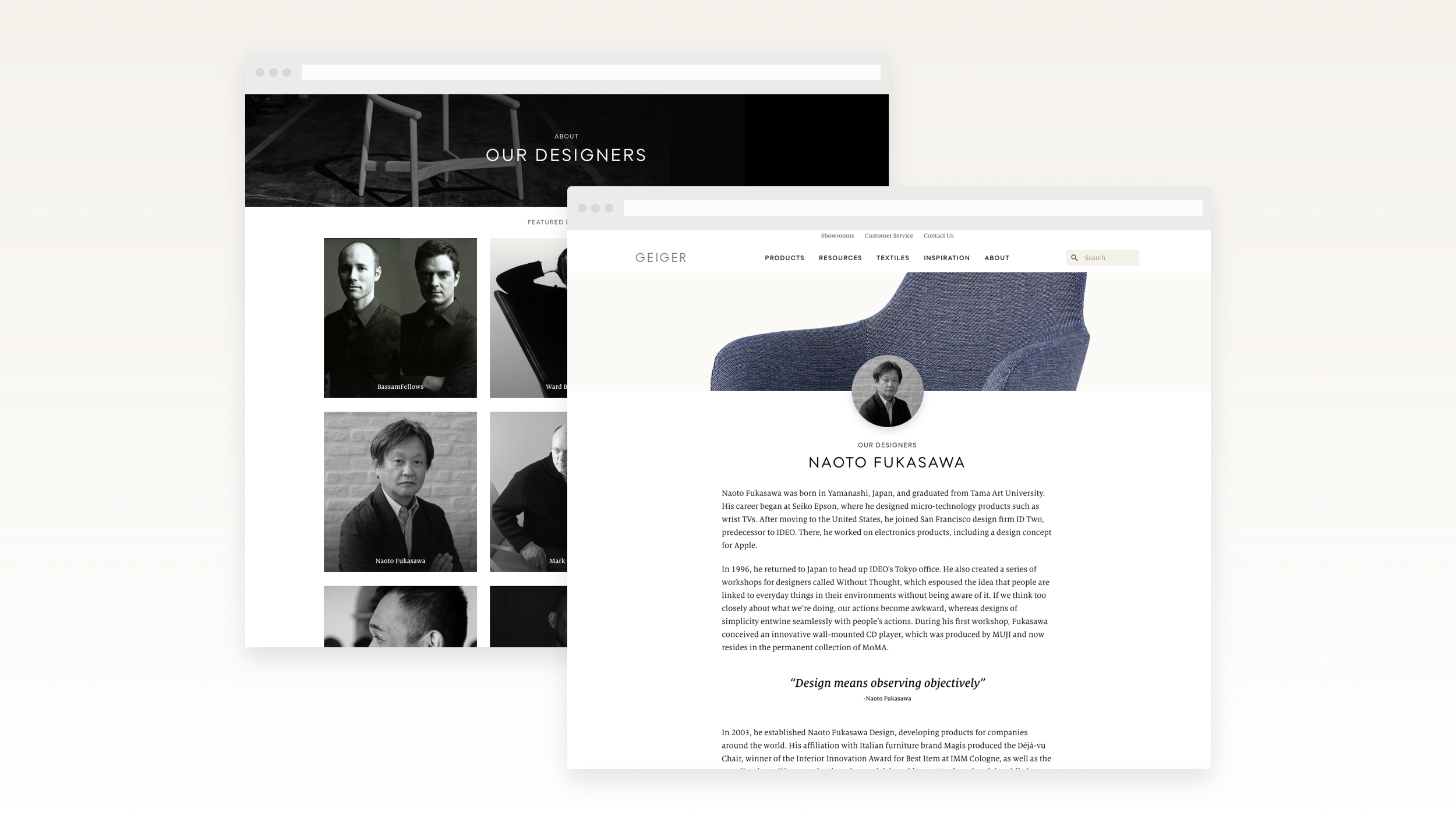 Desktop views of the Our Designers section with example design bio page.