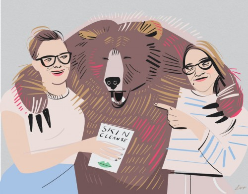 Adina on the left, me (libby) on the right, and the bear that started it all in the middle.