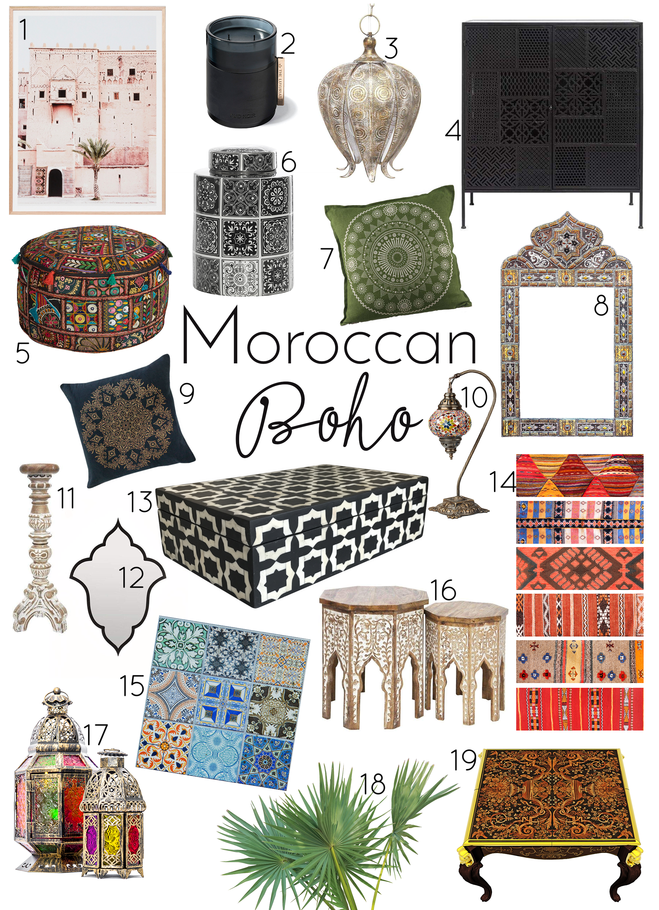 Think of… - colours, lamps, candles, mother of pearl, furniture with inlays, ottomans in leather, mosaics, Marrakesh, Morocco
