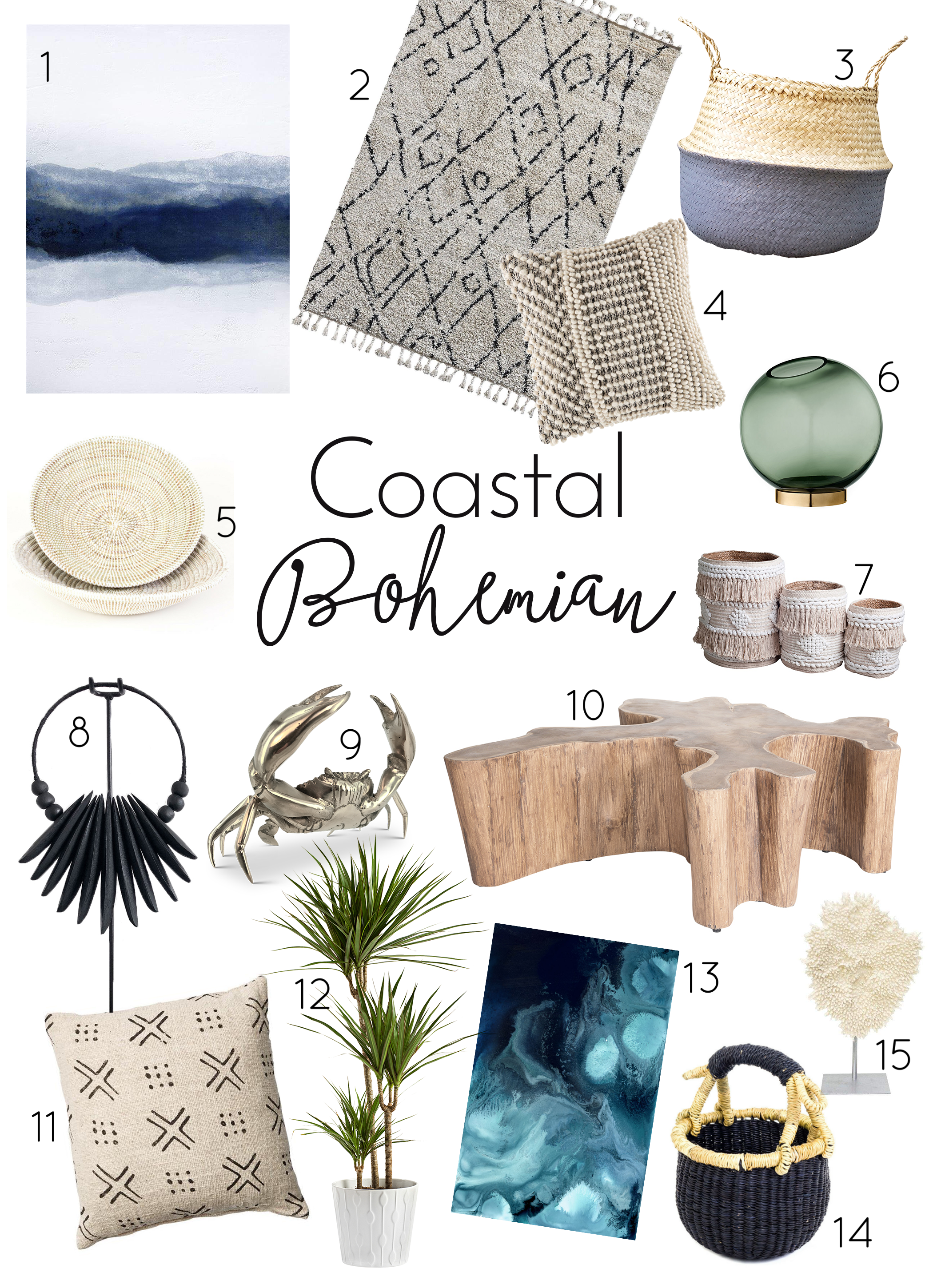 Think of… - whites, natural, cane furniture, bamboo, shells, blues and soft greens, the beach, tropical plants