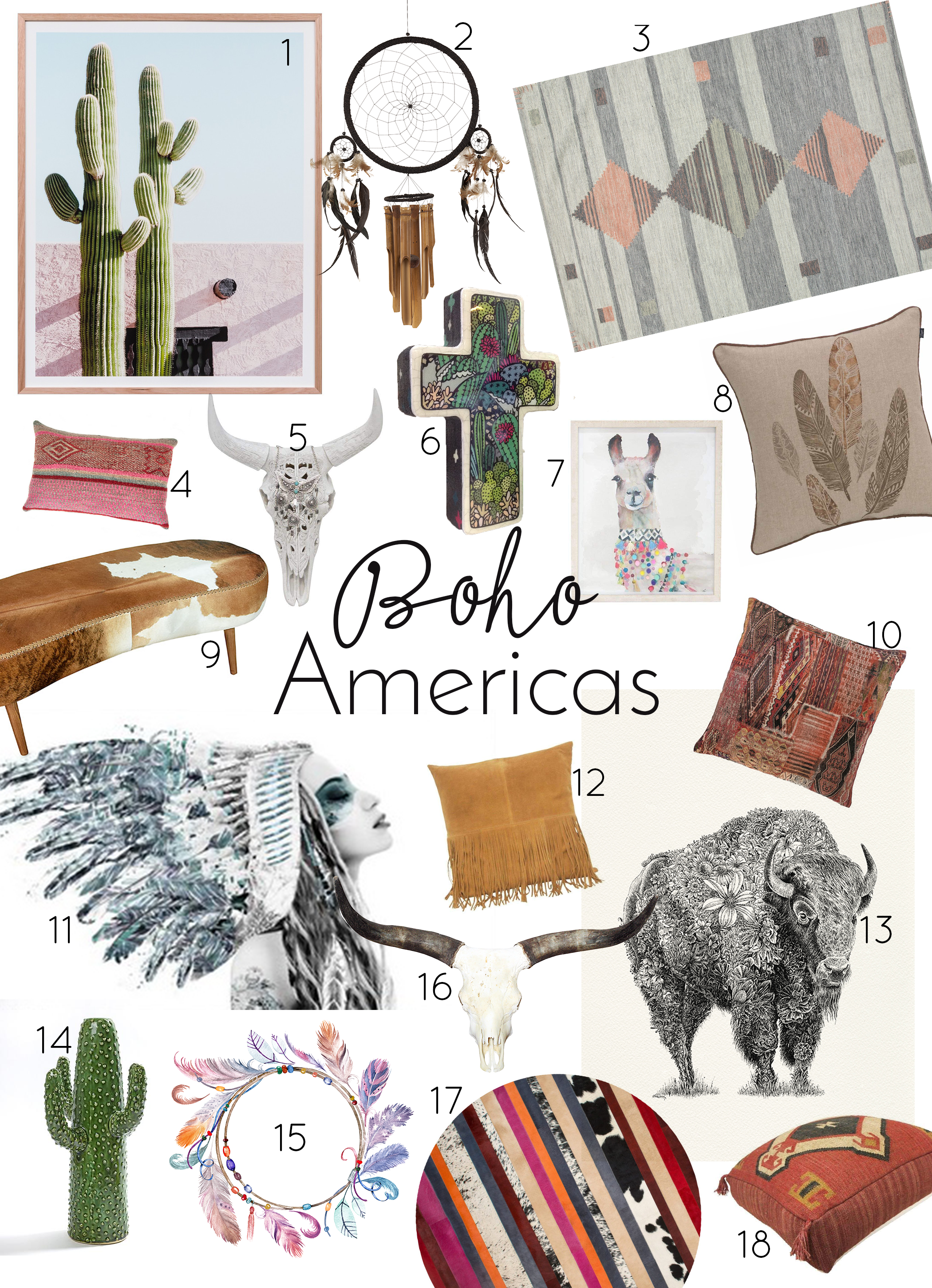 Think of… - Aztec prints, Native America, North and South America, feathers, bison, pampas grass, dream catchers, cactus, bull skulls