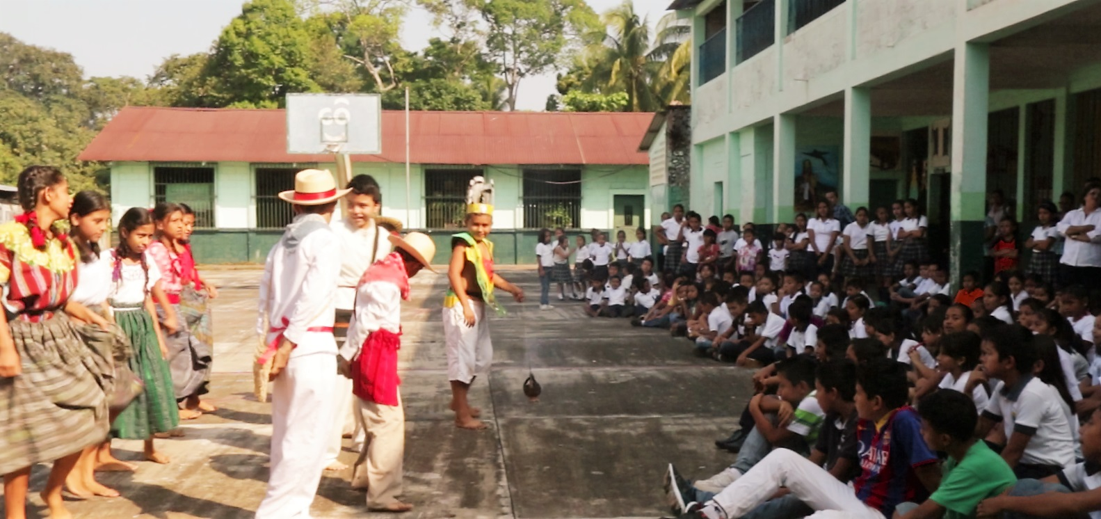A school assembly and dance put up on the occasion of our visit.