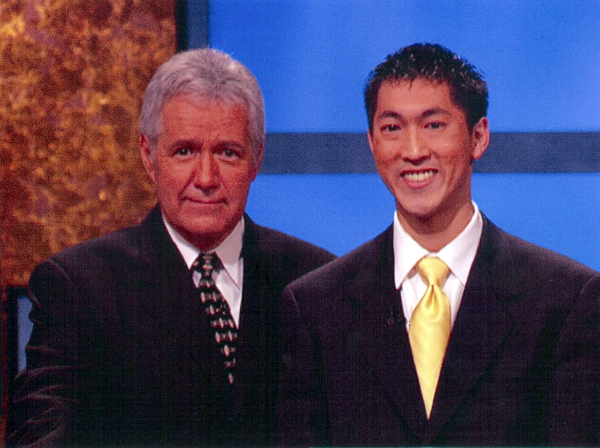 The author with Jeopardy! host Alex Trebek