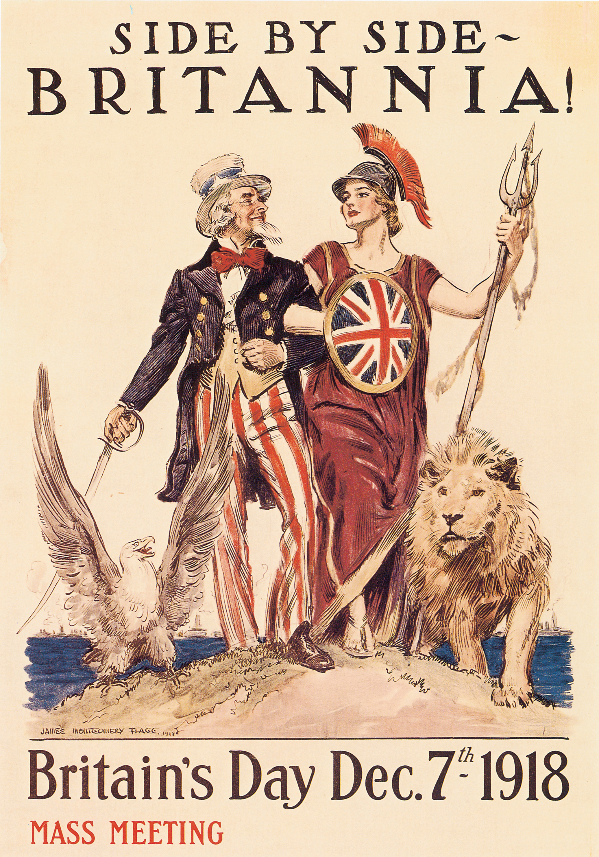 A poster from World War I showing Britannia arm-in-arm with Uncle Sam symbolizing the Anglo-American alliance.