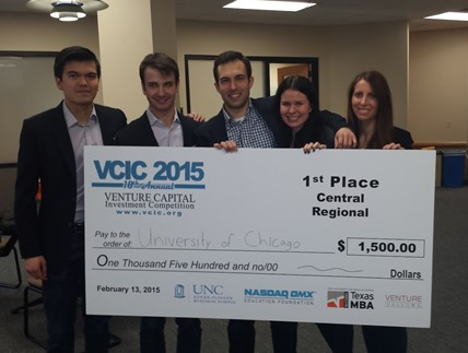 Team VCIC: (from left) Miguel Arcinas, Joshua Rogers, Brian Blaney, Jennifer Fried, Kara Davey (all Class of 2015)     A Booth team comprising of Kara Davey, Jennifer Fried, Miguel Arcinas, Joshua Rogers, and Brian Blaney (all Class of 2015) recently won the Regional competition at the Venture Capital Investment Competition 2015, organized by UNC Kenan Flagler, and will move to the International finals in early April.