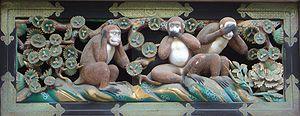 The three wise monkeys over the   Tosho-g  u shrine in Nikko, Japan