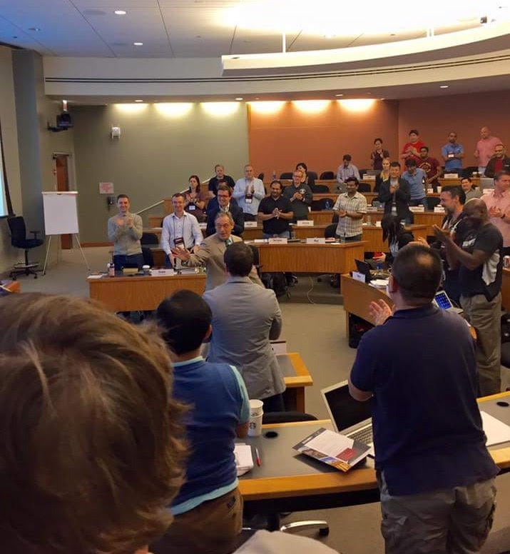 Prof. Scott Meadow receiving a standing ovation from his students.