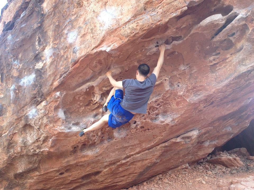 Kevin captured climbing