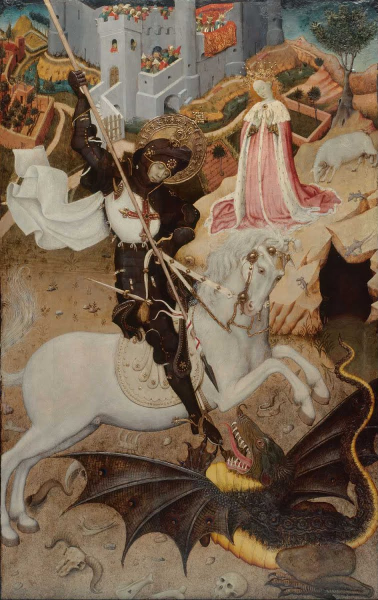 Saint George Killing the Dragon, painting by Rafael. Can you spot the fly? Hint: it's easier in person. Image: Wikipedia