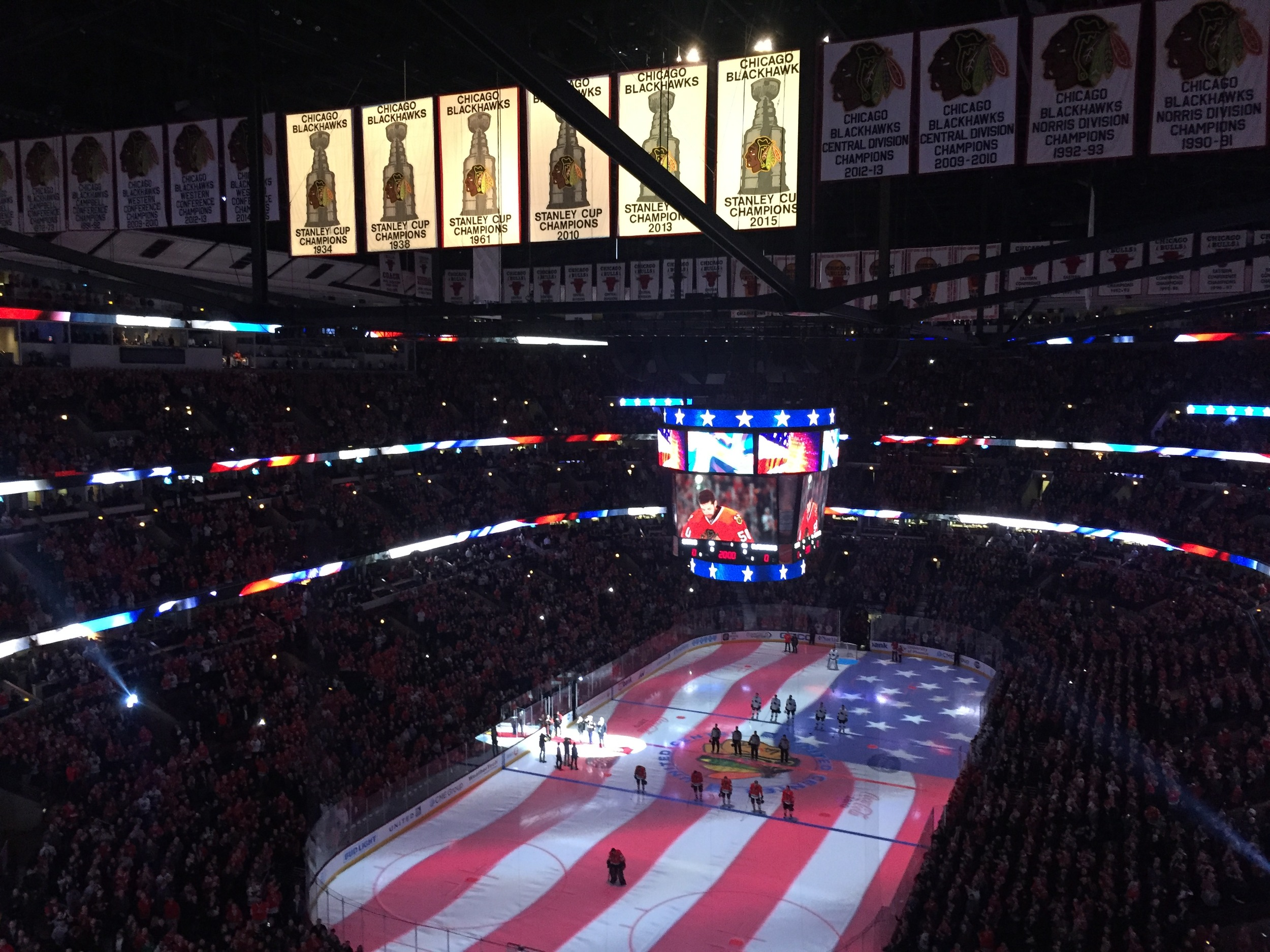 Red, white and blue at a Blackhawks game.