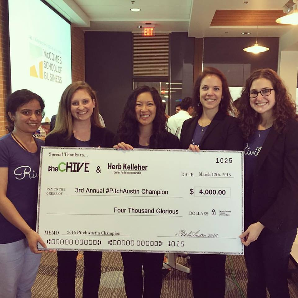 Riviter with the winners prize for SXSW'16 Pitch Austin Competitio