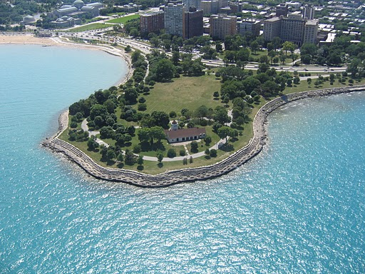 """""""The Point"""" is located on Lake Michigan and 55th Street in Hyde Park."""