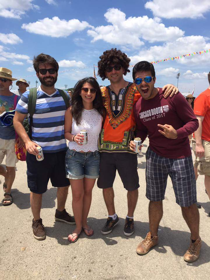 Ramzi, Sarah, Daniel and Rodolfo having fun at the New Orleans Jazz Festival