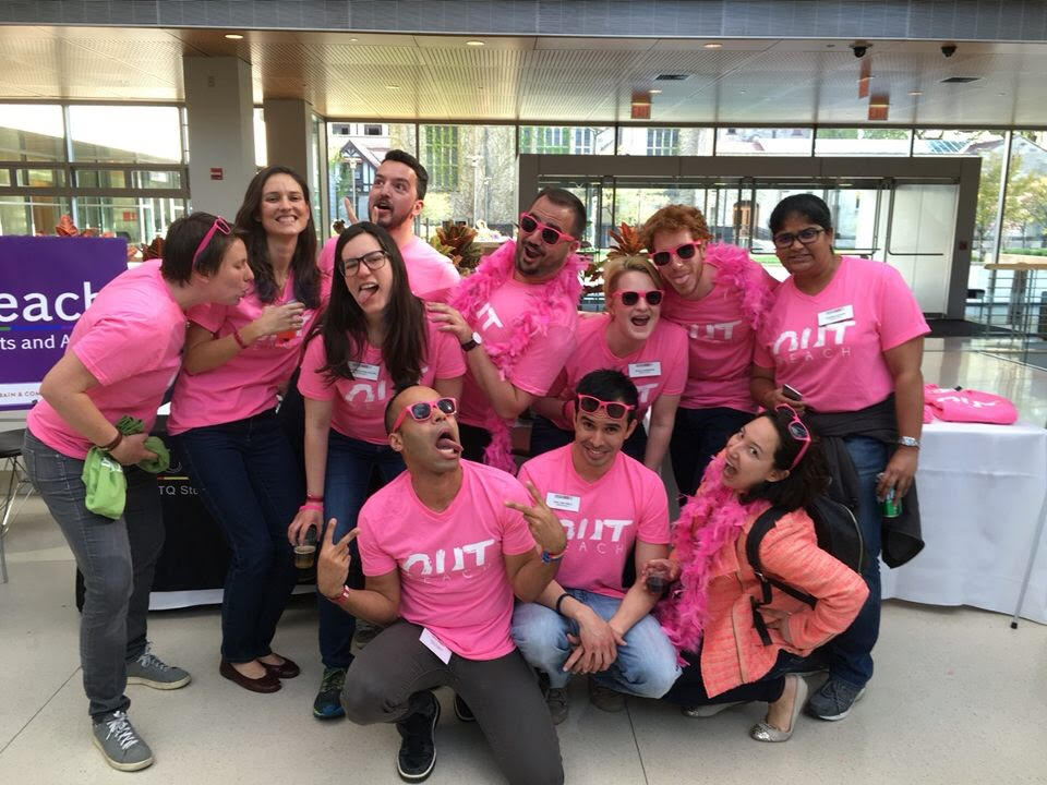Members of OUTreach, Booth's LGBTQ student group, strike a pose at the Pink LPF.