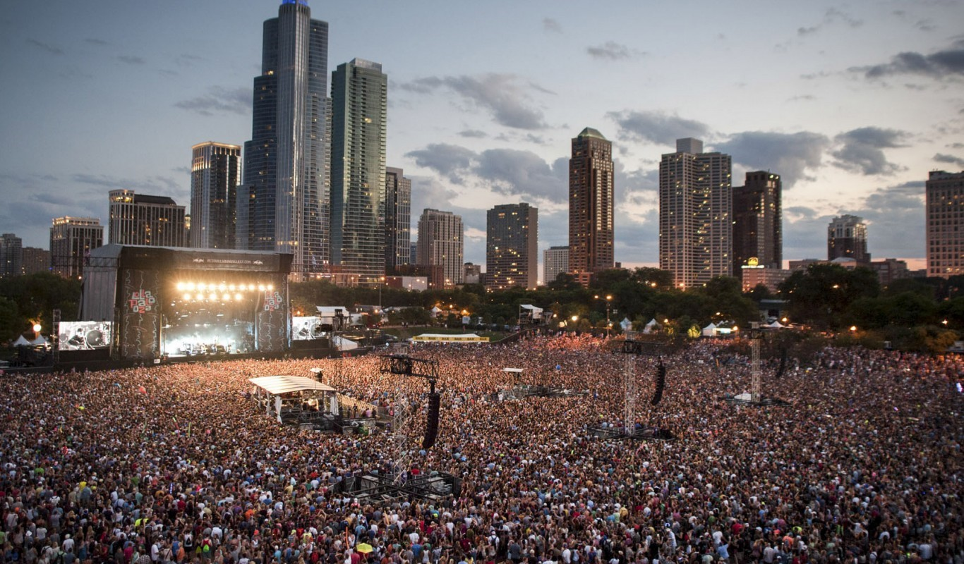 Lollapalooza takes over Grant Park in Chicago's downtown Loop, August 1-3.  Source: edmchicago.com