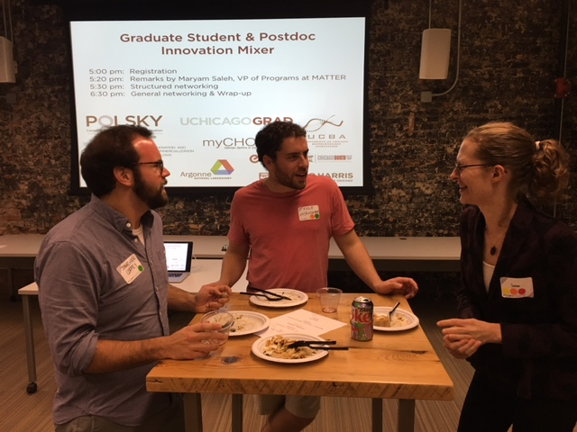 Booth Students Jonathan Coffey 17' and Kyle Mcandrew 18' talk synergies and possible collaborations with University of Chicago post-doc Sarah Mcmellon