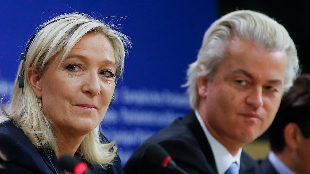 Marine Le Pen (left, France) and Geert Wilders (right, Netherlands) lead the European anti-EU wave.