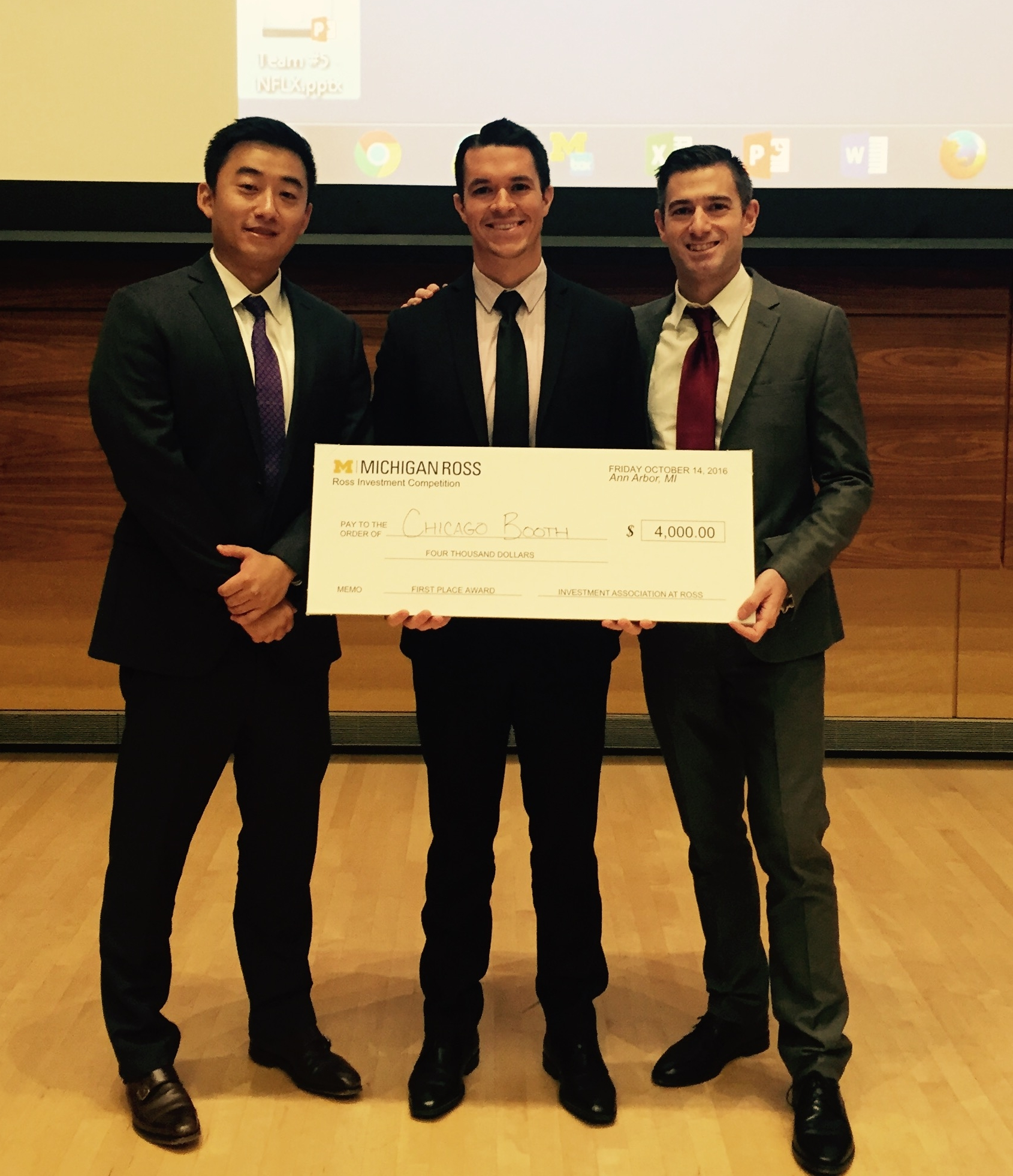 Brett Bateman ('18), Wyan Yarbrough ('18), and Jack Zhao ('18) brought home a 1st place win for Booth, annihilating the steep competition at this year's Ross Investment Competition.