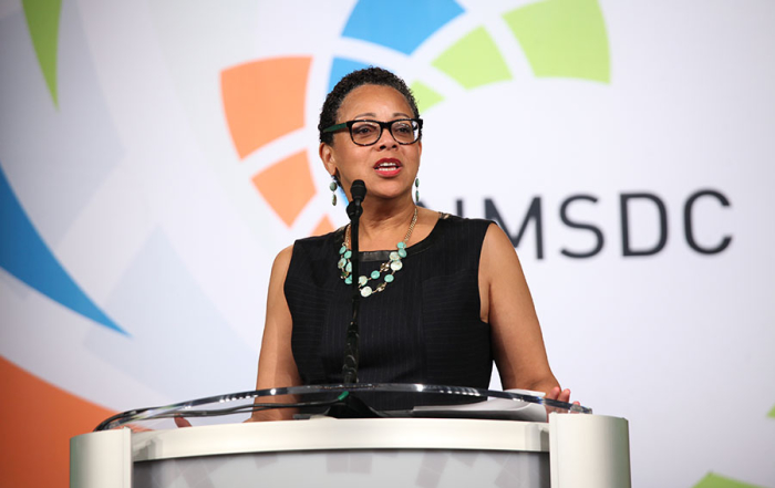 NMSDC president,   Joset Wright-Lacy, addresses the 1000's of conference attendees during the opening reception on Sunday.