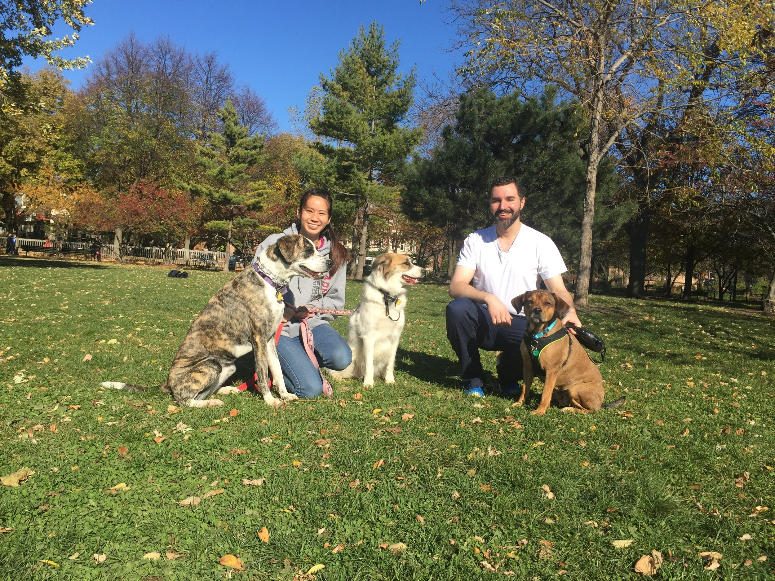 Weekend CBF students TIffany Yang '19 and Andrew Kerosky '19 take in the CBF football game with their dogs on Nov. 13.