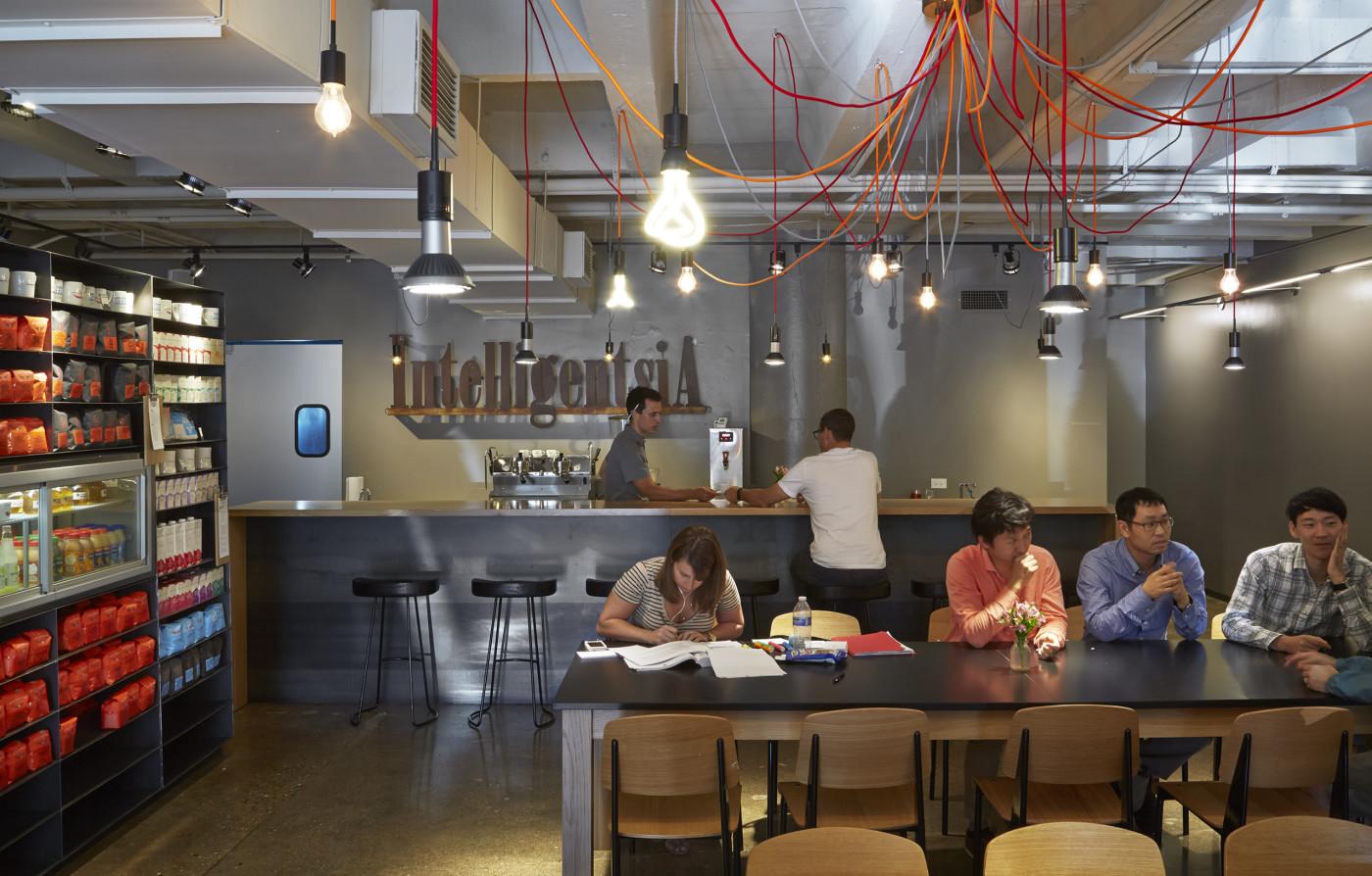 Industrial decor lines the interior of Intelligentsia Coffee Shop, Lake View. Photo Courtesy of Intelligentsia.